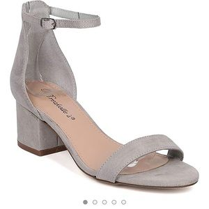 Breckelles Faux Suede Chunky Heel Sandals